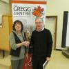Jill Hargrove of the FNHA expressing appreciation to Brent Wilson of the Gregg Centre who spoke on World Wars |One and Two and their effect on northside Fredericton. Mr. Wilson was the February 2015 speaker.