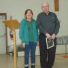 ​ ​FNHA member Jill Hargrove with March 2017 speaker Fred Farrell from the New Brunswick Provincial Archives.