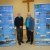FNHA members Fred White and Robert McNeil, October 2015, with the new Nashwaaksis and Devon banners they helped create.